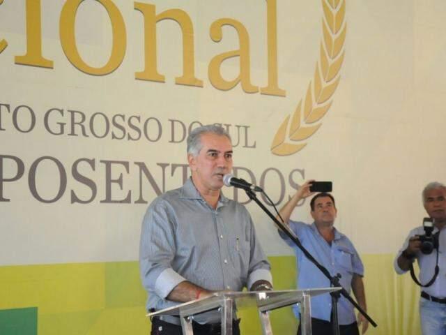Governador de MS, Reinaldo Azambuja (PSDB), em discurso. (Foto: Paulo Francis/Arquivo).