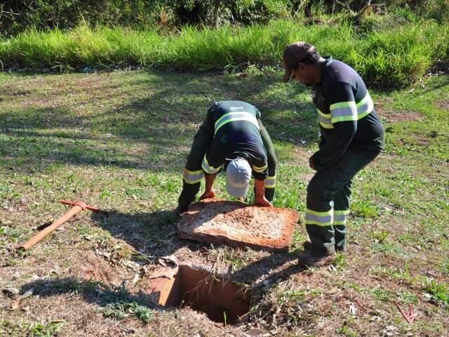 Técnicos da Águas Guariroba constataram despejo de esgoto no leito do córrego, o que infringe leis ambientais (Foto: João Garrigó)
