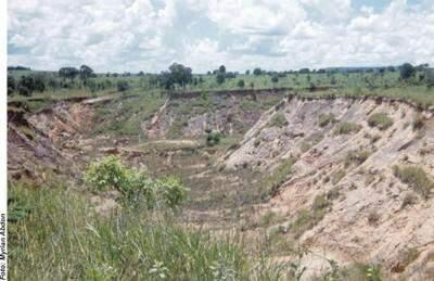 Desmatamento causam as voçorocas. (Foto: Divulgação)