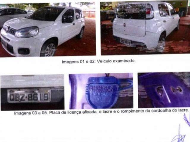 Imagem da perícia mostra carro onde armamento ficou na casa onde moravam Marcelo Rios e a esposa, que disse ter visto o arsenal. (Foto: Reprodução de processo judicial)