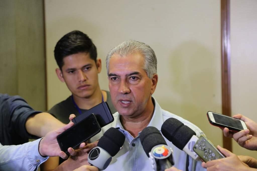 Reinaldo Azambuja durante entrevista coletiva (Foto: Arquivo - CG News)