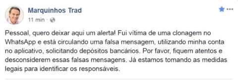 Com 'clone' do Whats de Marquinhos, golpista fez 3 vítimas e levou R$ 12 mil