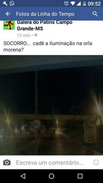 Post na página do Facebook do grupo Galera do Patins mostrando a falta de luz na Orla Morena.  (Foto: Direto das ruas)