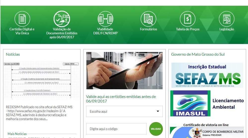 Página da Jucems na internet vai disponibilizar serviços online a partir do dia 19, para todo o MS. (Imagem: Reprodução/Jucems)