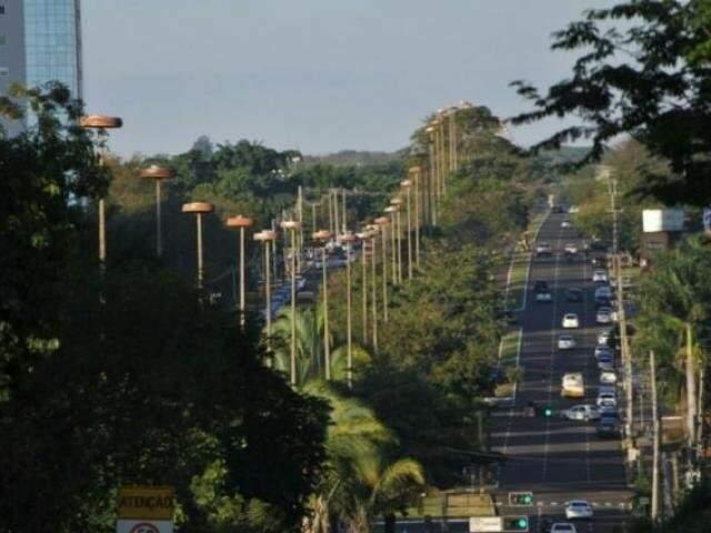 Avenida Afonso Pena, em Campo Grande, será palco da 1º Corrida Ecológica, do Ibama e parceiros. (Foto: Alcides Neto/Arquivo)