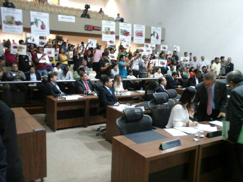 Indígenas lançaram campanha de boicote oficialmente hoje na Câmara (Foto: Leonardo Rocha)