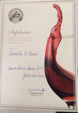 Diploma de medalha na Expovins de~São Paulo em  2017. (Foto: Arquivo Pessoal)