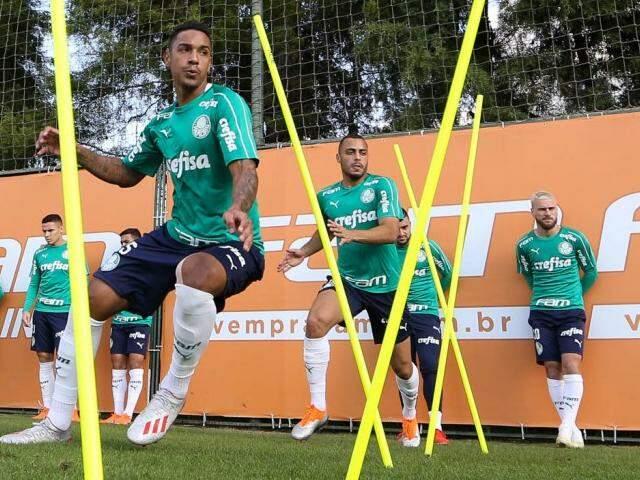 Elenco do Verdão faz treino físico antes de jogo pelo Brasileiro (Foto: Cesar Greco/Ag Palmeiras/Divulgação)