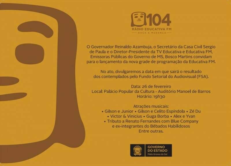 Convite para o lançamento da nova programação da rádio Educativa (Foto: Divulgação)