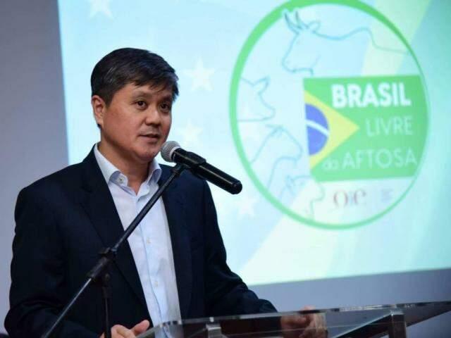 Presidente da Famasul, Mauricio Saito, durante evento para celebrar selo de país livre de aftosa com vacinação (Foto: divulgação)