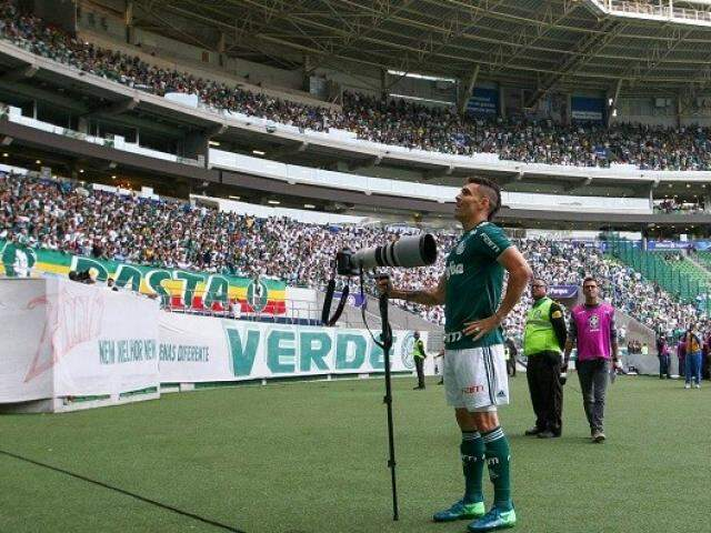 Jogador do Palmeiras durante comemoração do primeiro gol da partida, aos dois minutos (Foto: Cesar Greco/Agência Palmeiras)
