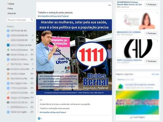 No Facebook, linhas do tempo e grupos também foram locais para distribuição de propaganda nesta sexta-feira. (Imagem: Reprodução)