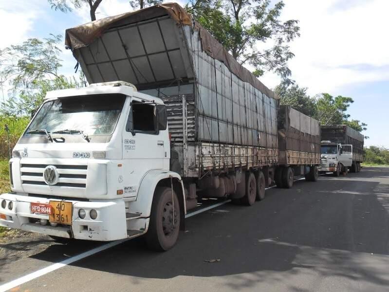 Caminhões foram apreendidos sem documentos (Foto: PMR)