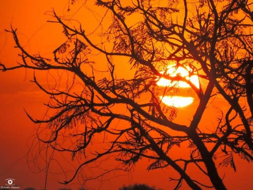 Por do sol sul-mato-grossense (Foto: Roberto Kelsson)