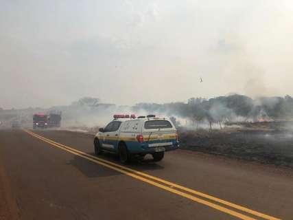 Nas rodovias de MS, queimadas são parte do trajeto de quem viaja