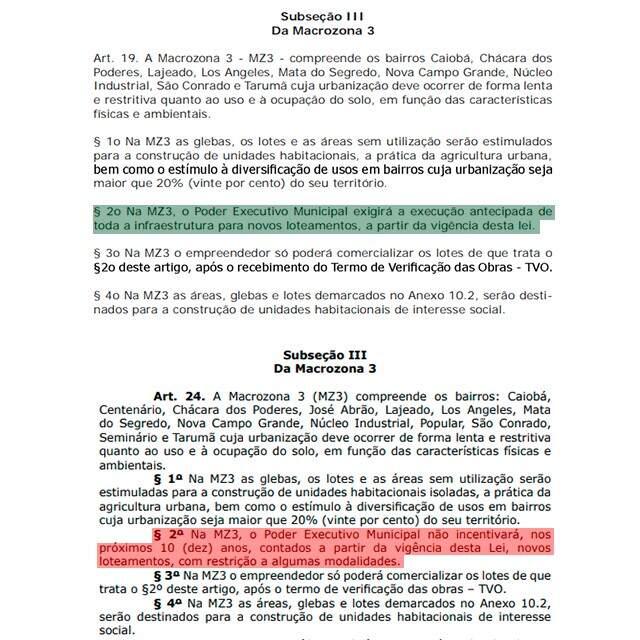 Acima, o texto no parágrafo 2º tem uma redação. No texto abaixo (enviado ao município), outra. (Arte: Ricardo Oliveira).