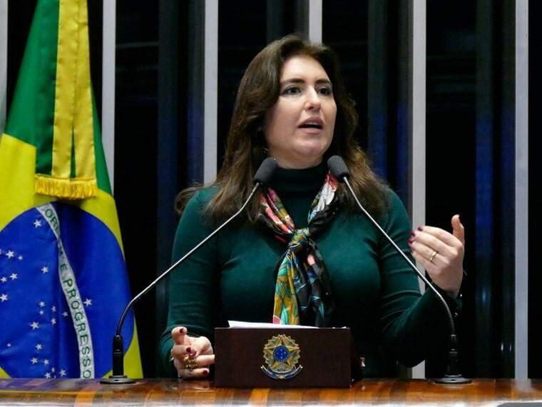 Simone Tebet em sessão do Senador (Foto: Roque de Sá/Agência Senado