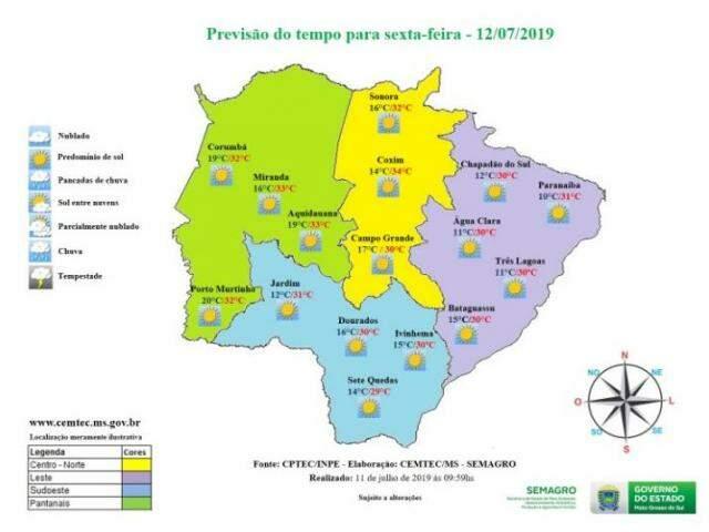 Veja no mapa as temperaturas máximas que devem ser registradas no decorrer do dia (Foto: reprodução/Governo do Estado)