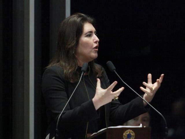 Senadora Simone Tebet discursa no plenário do Congresso. (Foto: Agência Senado/Arquivo).