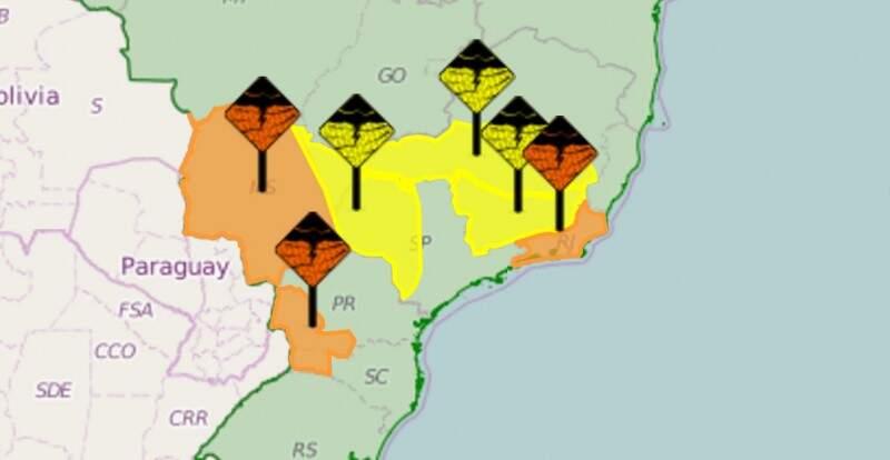 Inmet fez alertas de chuvas intensas para MS e outros Estados, sendo a faixa alaranjada a região mais chuvosa hoje (Foto: Reprodução/Inmet)