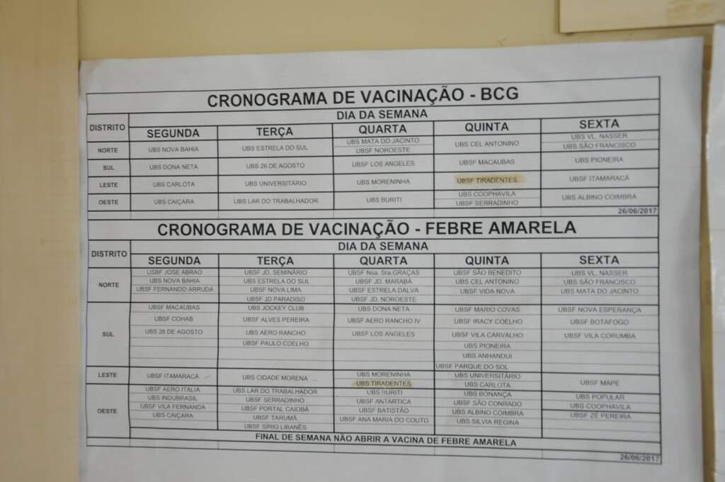 Cronograma de vacinação de todas as unidades de saúde da cidade acoplada em porta para visualização da população. (Foto: Paulo Francis)