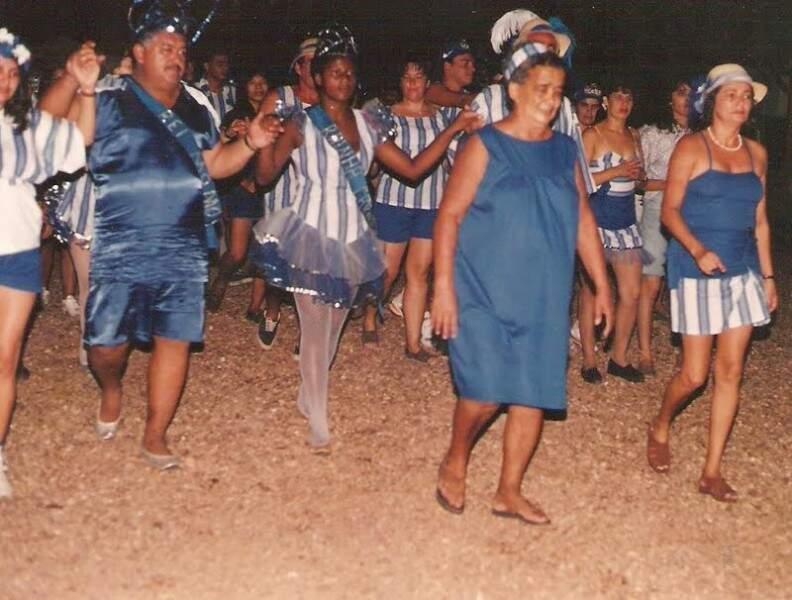 Festeira, Dona Maria Sem Troco em um dos muitos carnavais que ela pulou.(Foto: Arquivo Pessoal)