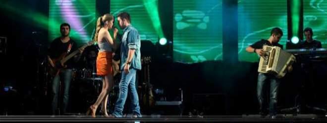 Os namorados, durante show na semana passada em Campo Grande.