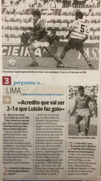 A Bola, principal jornal esportivo de Portugal homenageou o atacante Lima pelo gol que fez na vitória do Benfica há 26 anos (Foto: Internet)