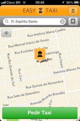 Aplicativo permite rastrear trajeto do taxista até você. Tempo máximo de espera é de 10 min.