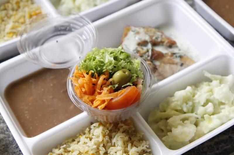 Um dos cardápios do marmitex light: arroz integral, feijão, frango com molho de manjericão e couve-flor gratinada, além da salada. (Foto: Cleber Gellio)