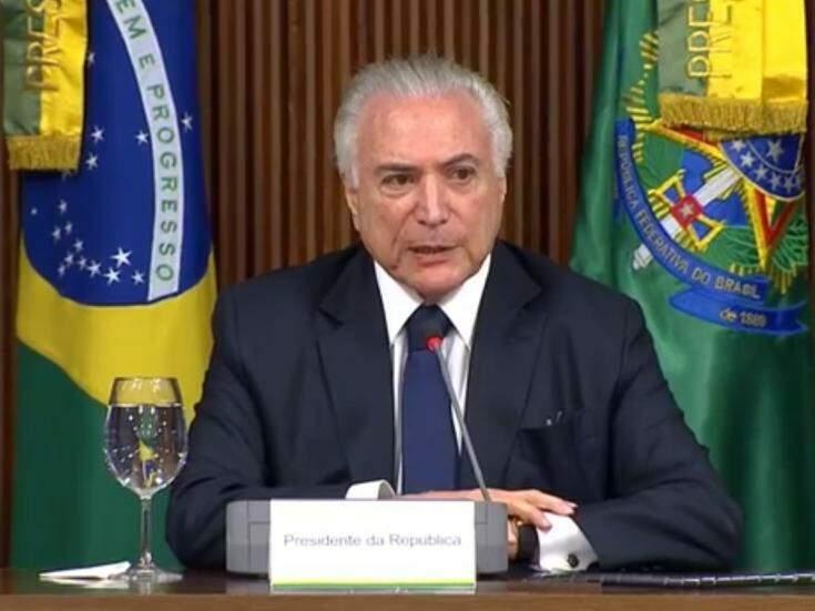 Presidente no comando da reunião (Foto: TV NBR/Reprodução)