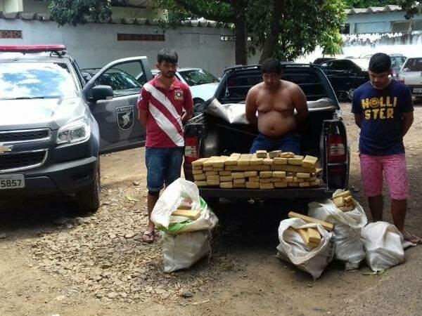 Trio foi preso após trazer droga de Bela Vista, fronteira com o Paraguai (Foto: divulgação)