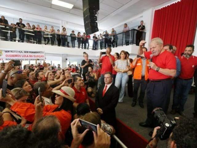 Lula acompanhou parte do julgamento no Sindicato dos Metalúrgicos do ABC. (Foto: Edu Guimarães/Divulgação)
