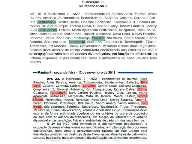 No quadro acima, os bairros sublinhados em verde não aparecem na versão final, abaixo. Os bairros de vermelho foram acrescentados no texto final. (Arte: Ricardo Oliveira).