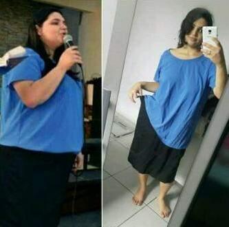 O antes e depois da estudante. Uma diferença de 40 quilos.