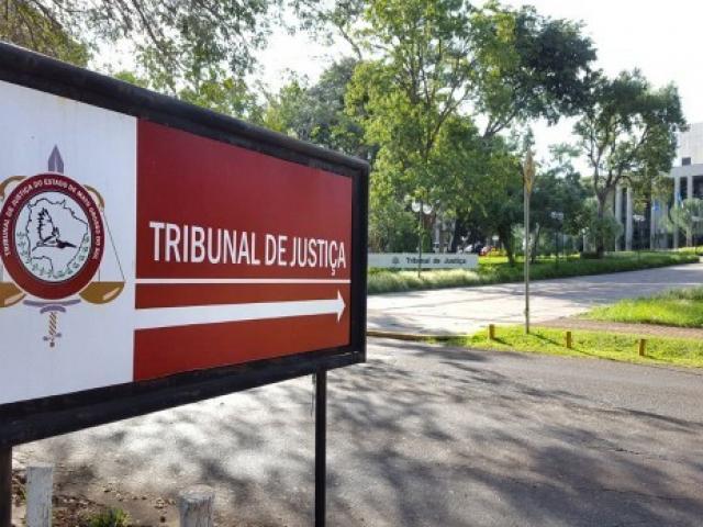Placa em frente ao TJMS, que foi alvo de inspeção do CNJ no fim de outubro. (Foto: Conselho Nacional de Justiça)