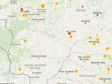 Mapa do Observatório Sismológio da UnB com registros dos últimos eventos registrados no Brasil (Foto: Reprodução)
