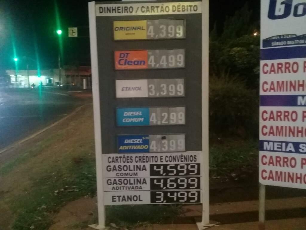 Preço do litro da gasolina comum chega a custar R$ 4,59 na Capital (Foto: Graziella Almeida)