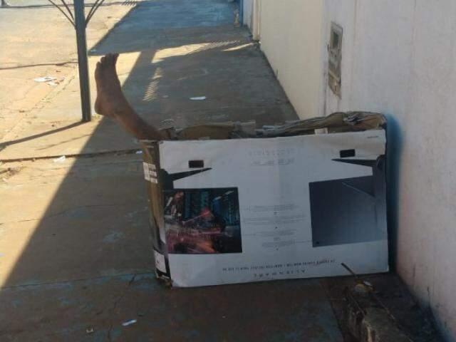 Moradores tentaram falar com o homem para verificar se estava bem, mas não tiveram sucesso. (Foto: Direto das Ruas)