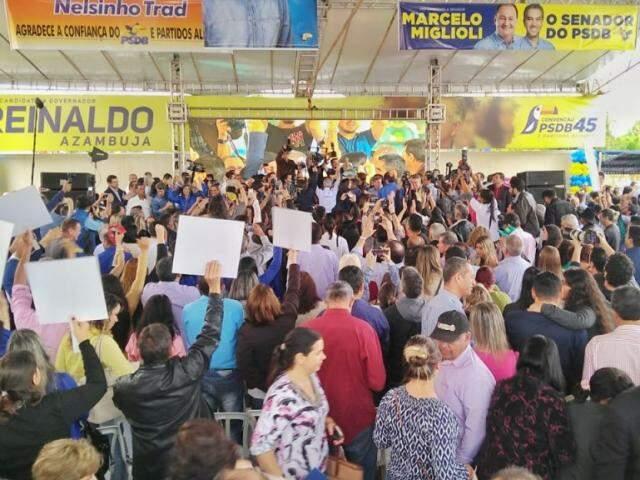 Convenção do PSDB que sacramentou aliança entre 14 partidos; chapa dará o maior tempo de rádio e TV a Reinaldo. (Foto: Fernando Antunes/Arquivo)