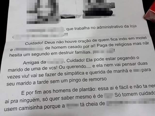 Carta enviadas para várias lojas e amigas da vítima que moram em Maringá. (Foto: Direto das Ruas)
