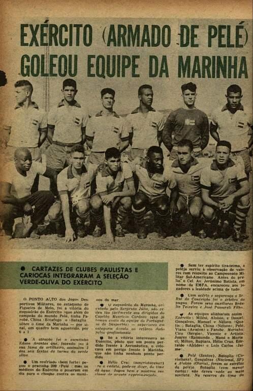 Imprensa da época destacava a seleção do Exército: Gonçalves, o segundo da esquerda para a direita, em pé, com Pelé agachado logo abaixo (Foto: Arquivo pessoal)