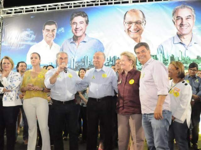 Reinaldo Azambuja (PSDB) ao lado de Pedro Chaves (PRB), da senadora Ana Mélia (PP) e do ex-prefeito Nelsinho Trad (Foto: Paulo Francis)