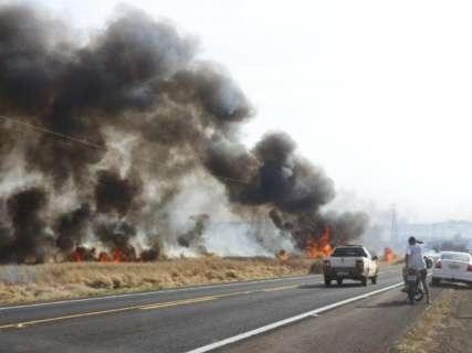 Incêndio em lavouras de cana ameaça acampamento sem-terra e motoristas