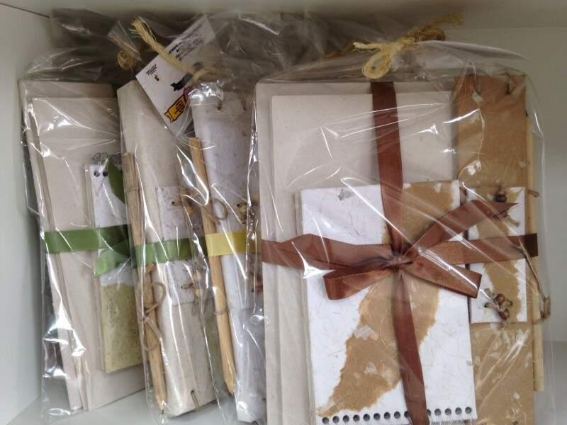 O kit com agenda, lápis e caderneta é vendido a R$ 30,00. (Foto:Adriano Fernandes)