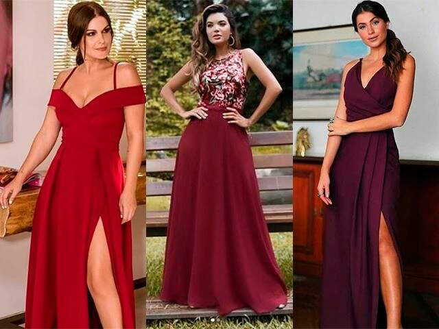 Modelos de vestidos em tons de vermelho. (Foto: Divulgação)