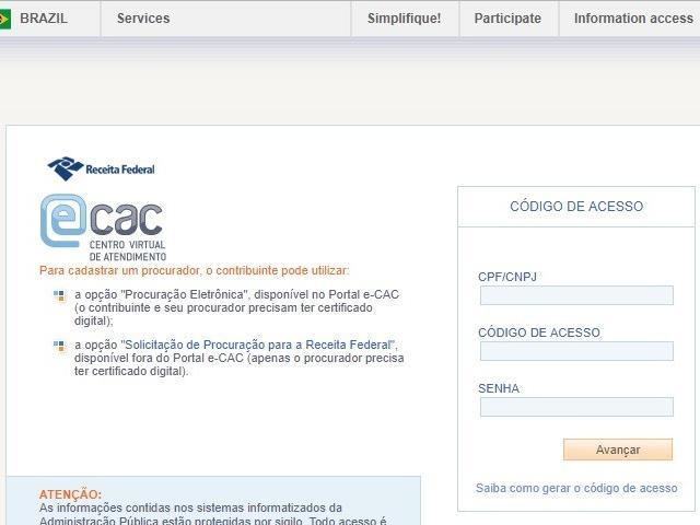 Layout do sistema da Receita onde é possível consultar se contribuinte foi contemplado na restituição (Foto: reprodução)