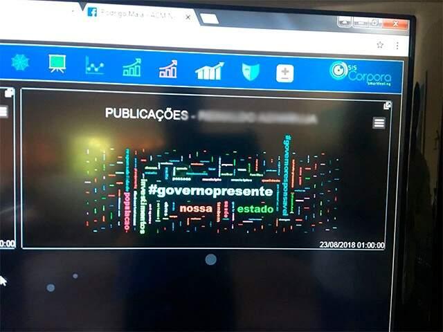 Imagem mostra hashtag mais usada na rede social do atual governador Reinaldo Azambuja. (Foto: Danielle Valentim)