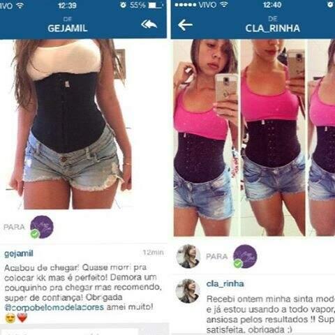 Clientes contam a experiência de usar a cinta pelo instagram