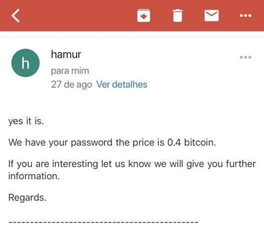 """Por e-mail, """"Hamur"""" exigiu pagamento de 0,4 bitcoin, ou cerca de R$ 12 mil. (Foto: Direto das Ruas)"""